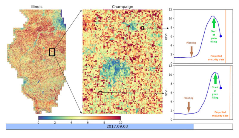 Close-up heat map of Champaign, IL shows crop production history