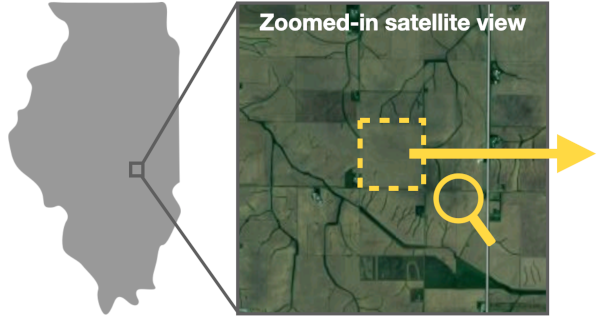 aerial view of farmland pointing to farmland parcel